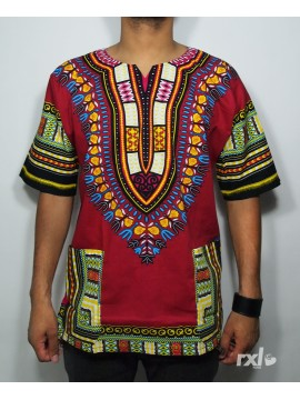 "RXL Paris - Dashiki Homme ""YA MADO"" Wax Bordeaux"