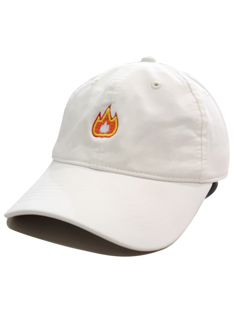 Fire Emoji Dad Hat in White
