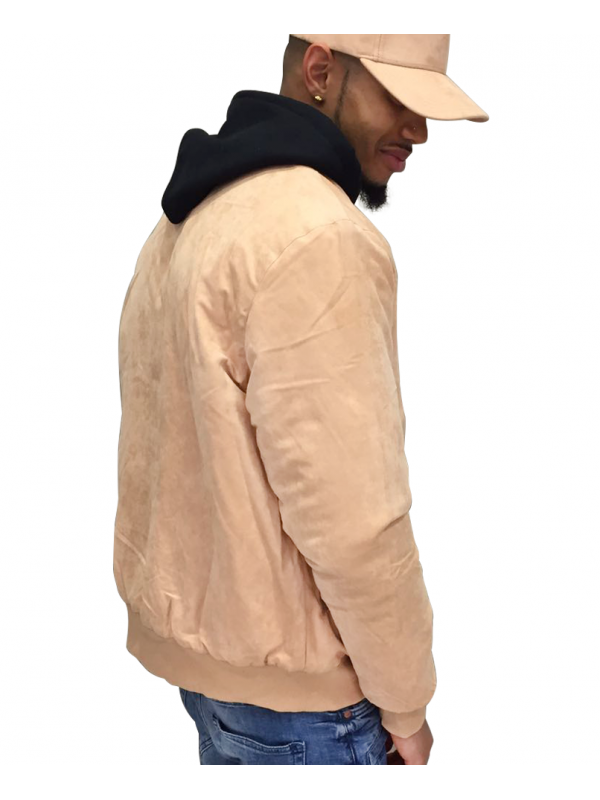 DS|LINE X Canvas And Colors Bomber Fly Jacket Suede in Sand