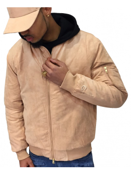 DSLINE X Canvas And Colors Bomber Fly Jacket Suede in Sand