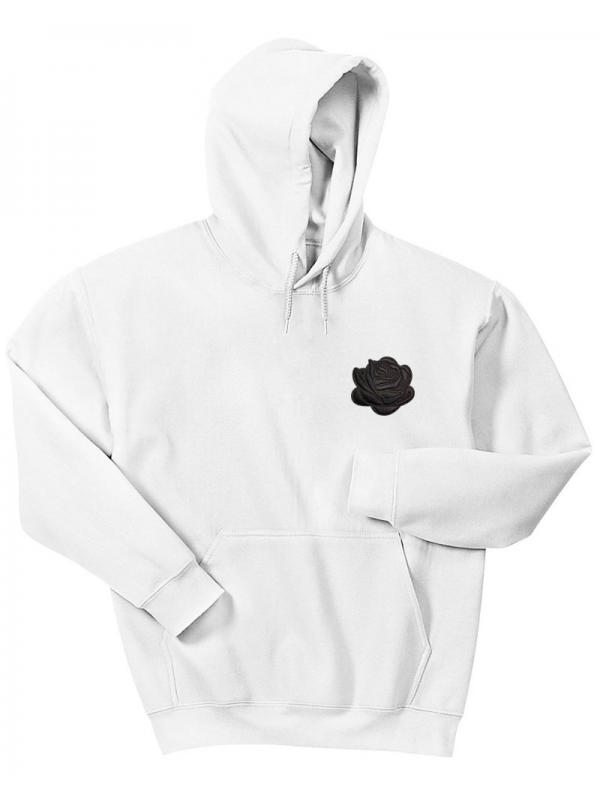 RXL Paris Black Rose Embroidered Hoodie White