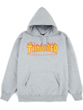 Thrasher Flame Logo Sweat Capuche Gris
