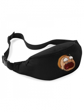 Rick And Morty Embroidered Patch Belt Bag Black