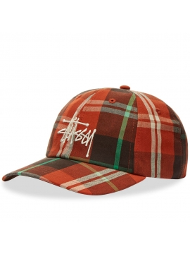 Stussy Big Logo Madras Plaid Low Pro Orange